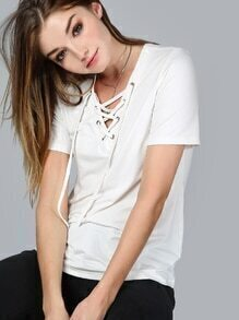 White Lace Up V Neck T-shirt