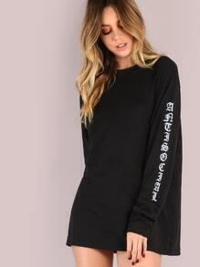 Long Sleeve Anti Social Sleeve Top BLACK