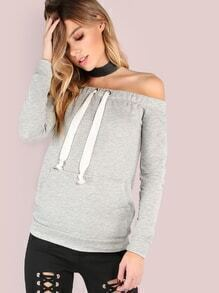 Off The Shoulder Sweatshirt HEATHER GREY