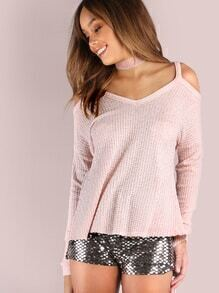 Pink Waffle Knit Cold Shoulder Dolman Sleeve T-shirt