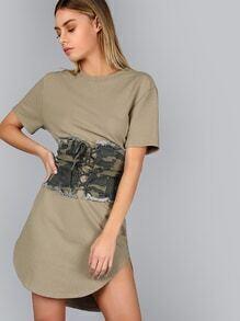 Green Splash Print Curved Hem Distressed Tee Dress