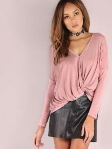 Pink Twist Front Dolman Sleeve T-shirt