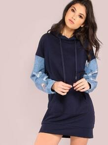 Oversized Frayed Denim Sleeve Hoodie NAVY
