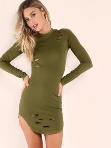 Olive Green Curved Hem Ripped Bodycon Dress