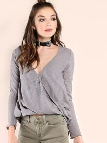 Grey Striped V Neck Wrap Long Sleeve T-shirt