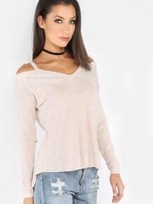 Beige Waffle Knit Cold Shoulder T-shirt