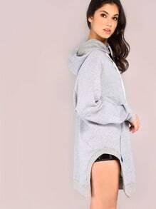 Heather Grey Slit Hoodie With Pocket