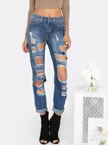 Destroyed Mid Rise Boyfriend Jeans DENIM