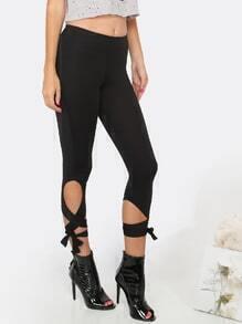 Lace Up Capri Leggings BLACK