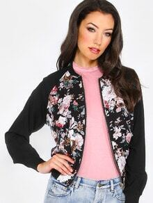 Multicolor Floral Zipper Long Sleeve Jacket