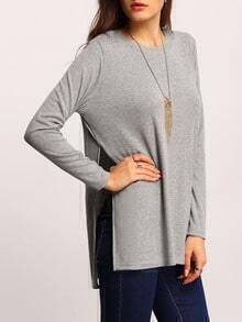 Grey Round Neck High Side Split T-Shirt