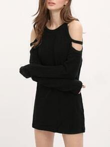Black Round Neck Cold Shoulder Sweater