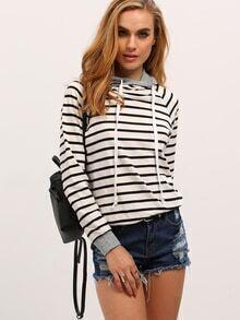 Sweat-shirt à rayures zippé avec capuche