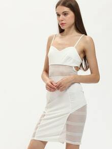 Vestido tirante fino mesh yoke -blanco