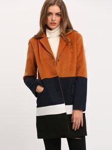 Brown Long Sleeve Lapel Color Block Coat