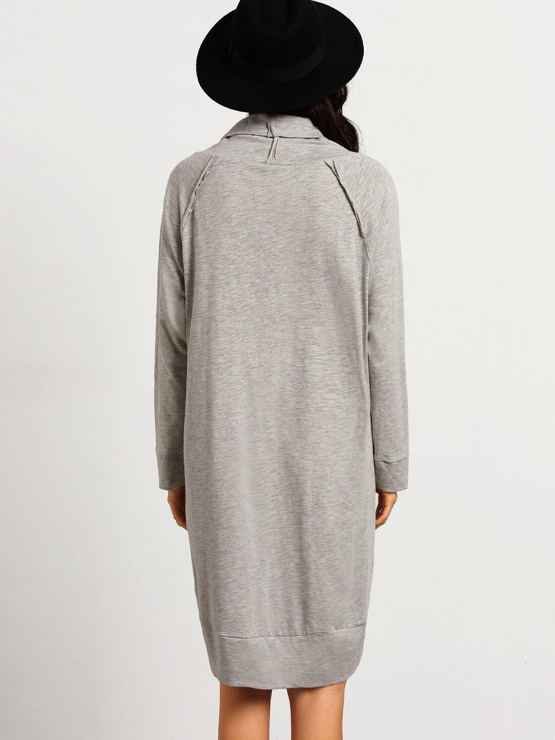robe manches longues col roule gris french romwe With robe longue col roulé
