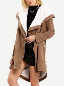 Khaki Hooded Long Sleeve Coat