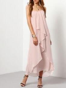 Pink Strapless Ruched Maxi Dress