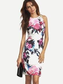 Multicolour Sleeveless Patterns Floral Print Dress