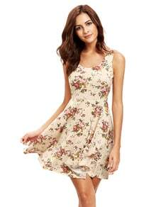 Apricot Sleeveless Florals Skater Dress