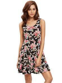 Black Pink Sleeveless Skater Dress