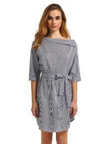 Black White Periwinkle Shouldered Half Sleeve Off The Shoulder Striped Dress