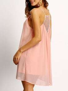 Pink Spaghetti Strap Hollow Back Shift Dress