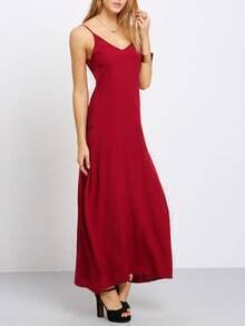 Burgundy Spaghetti Strap Maxi Dress With Pockets