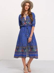 Blue Adjustable Sleeve And Waist Boho Dress
