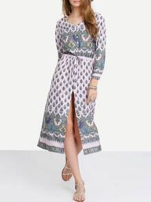 Pink Adjustable Sleeve And Waist Boho Dress