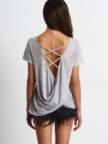 Grey Criss Cross Drapped Back Casual T-shirt