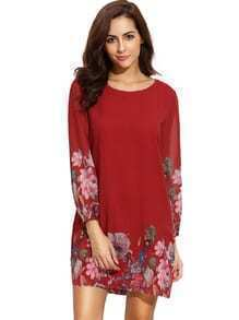 Red Lantern Sleeve Floral Shift Dress
