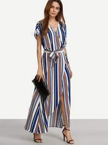 Multicolor Striped V Neck Tie Waist Split Maxi Dress