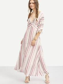 Multicolor Striped Half Sleeve V Neck Maxi Dress