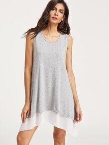 Grey Contrast Asymmetrical Tank Dress