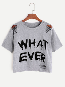 Grey Letter Print Ripped T-shirt
