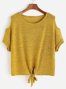 Yellow Cold Shoulder Knotted T-shirt