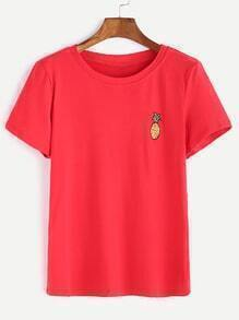 Red Pineapple Embroidered  T-shirt
