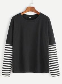 Black Stripped Contrast Sleeve T-shirt