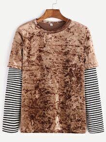 Brown Stripped Contrast Sleeve Velvet T-shirt