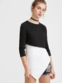Black And White Splicing Asymmetrical T-shirt