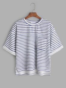 Blue Stripped High Low Drop Shoulder T-shirt