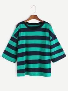Green Stripped Cold Shoulder T-shirt