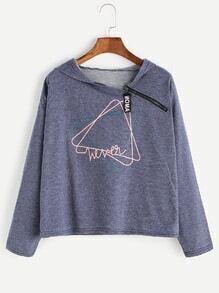 Blue Print Zipper Detail Hooded Sweatshirt