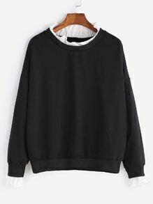Black Contrast Fungus Collar Sweatshirt