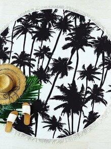 Black Coconut Tree Print Fringe Trim Round Beach Blanket