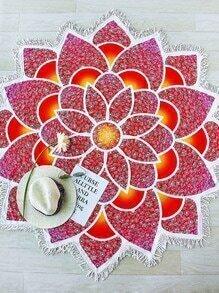 Red Lotus Flower Shape Fringe Trim Beach Blanket