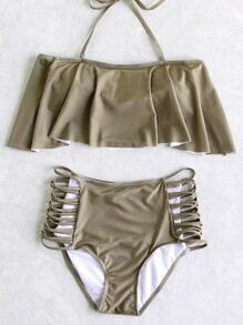 Coffee Criss Cross Detail Ruffle High Waist Bikini Set