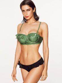 Green Ruffle Design Bustier Mix & Match Bikini Set