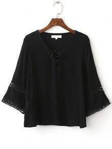 Black V Neck Lace Up Crochet Trim Sleeve Blouse